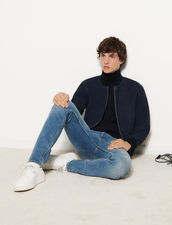 Suede Zipped Jacket : Jackets & Coats color Navy Blue