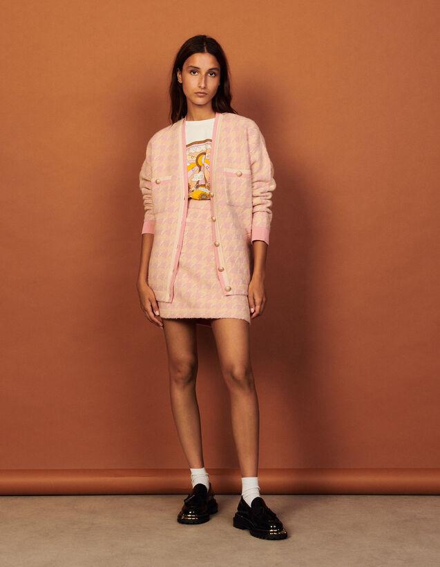 Long Tweed Coatigan : Sweaters & Cardigans color Pink