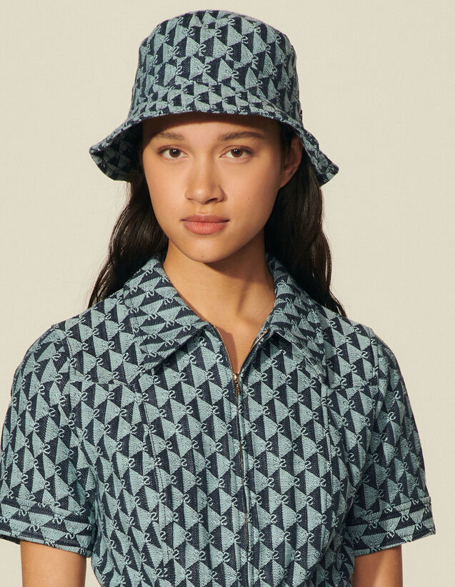 Double S Jacquard Fabric Bucket Hat : Other accessories color Beige