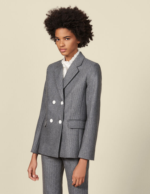 Flannel Tailored Jacket : Blazer & Jacket color Grey
