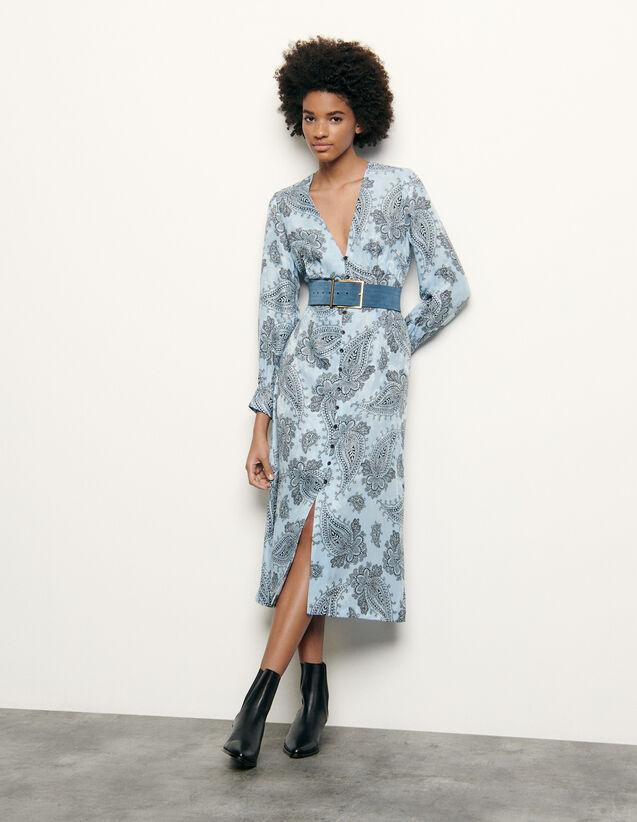 Printed Silk Blend Midi Dress : Dresses color Blue