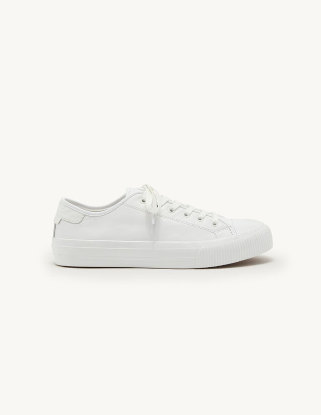 Low-Top Leather Trainers : Shoes color white