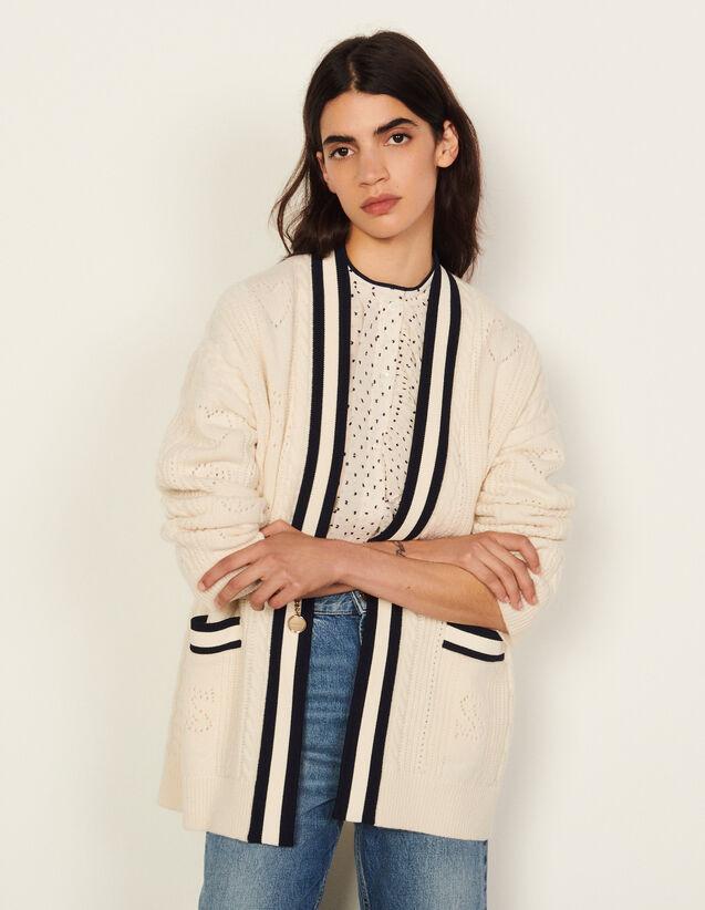 Pointelle Knit Coatigan : Shirts color Ecru