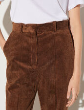Corduroy Straight-Cut Trousers : Pants color Brown