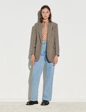 Herringbone Tailored Jacket With Sequins : Blazer & Jacket color Beige / Grey