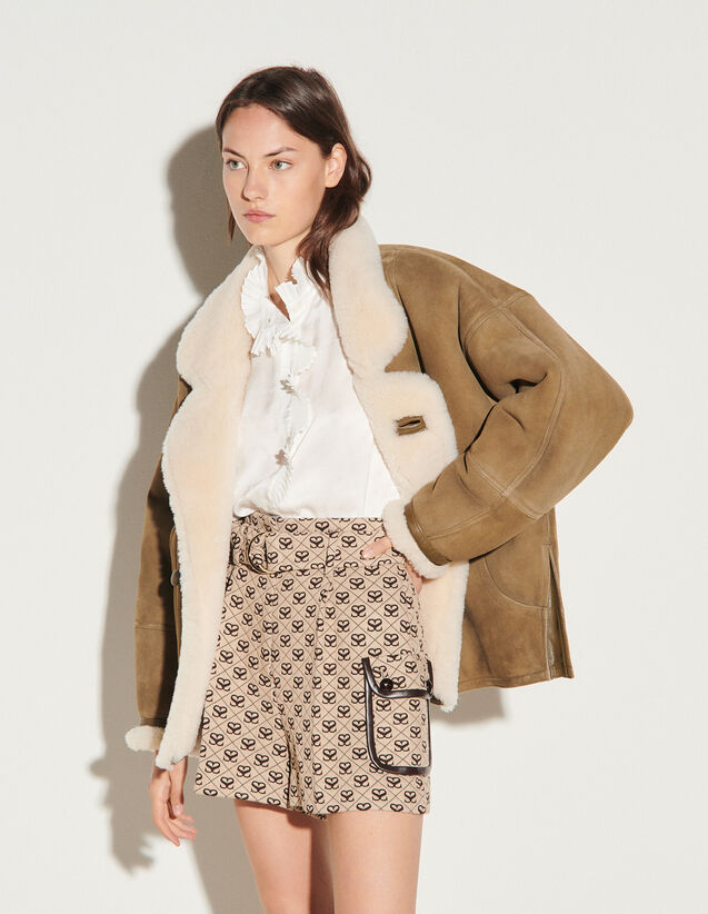 Double S Jacquard Shorts : Skirts & Shorts color Beige / Brown