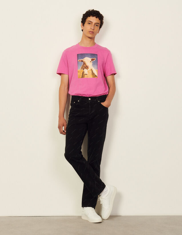 Sandro Paris Printed Jeans : Jeans color Black