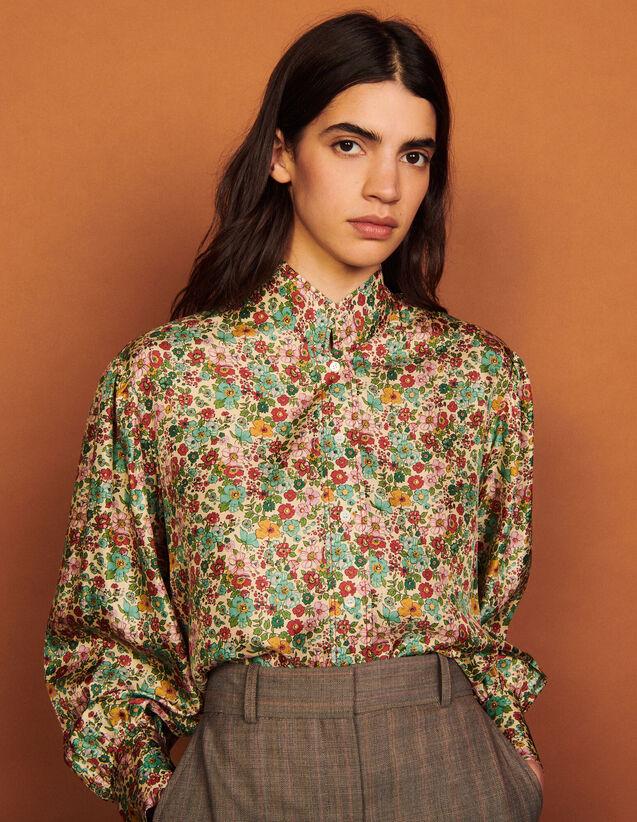 Floaty Printed Silk Shirt : Shirts color Green / Pink