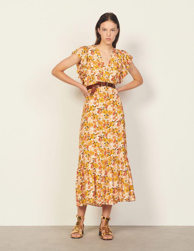 Long Printed Dress : Dresses color Ecru