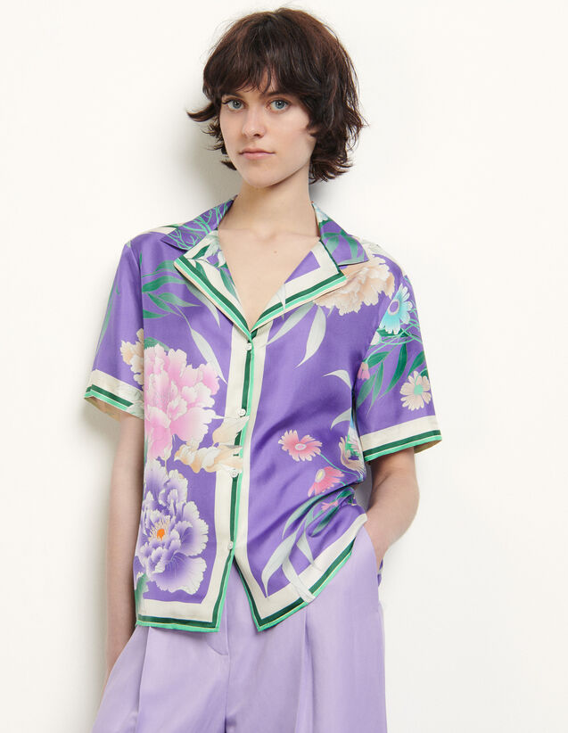 Printed Silk Pyjama Shirt : Shirts color Purple
