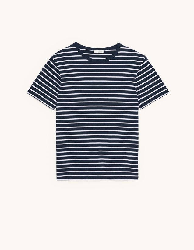 Cotton Breton T-Shirt : T-shirts & Polo shirts color Navy/Ecru