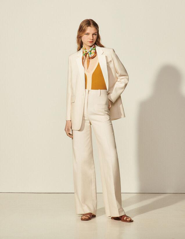 Trousers With Centre Front Zip : Pants color light beige