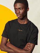 T-Shirt With Multicoloured Embroidery : T-shirts & Polo shirts color Black