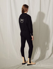 Zipped Hoodie With An Embroidered Back : Tops color Navy Blue