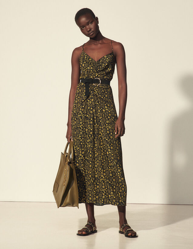Long Printed Dress With Narrow Straps : Dresses color Black