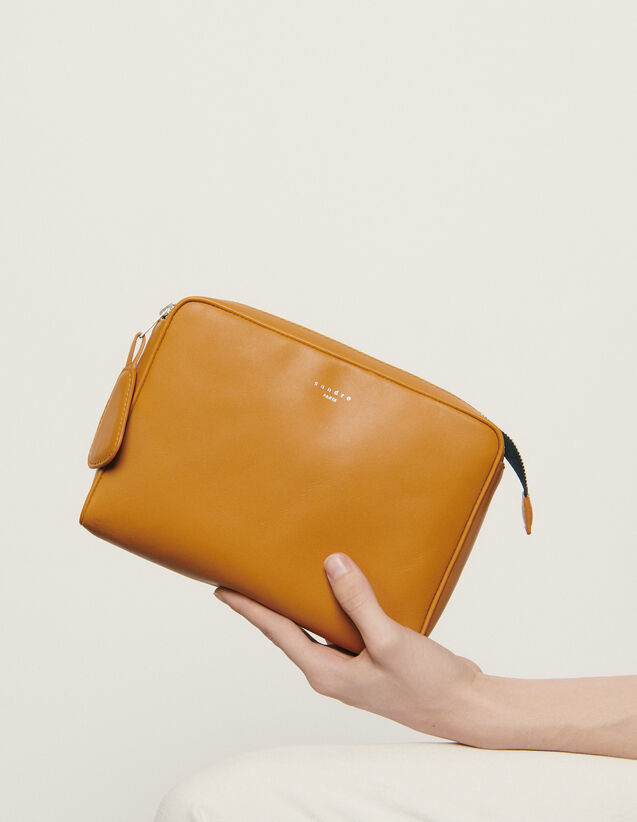 Small Supple Leather Pouch : Leather Goods color Ochre