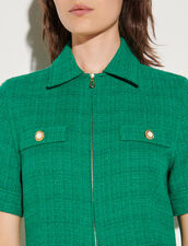 Zip-Up Tweed Playsuit : Jumpsuits color Emeuraude Green