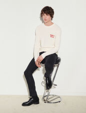 Wool Sweater With Embroidery : Sweaters & Cardigans color white