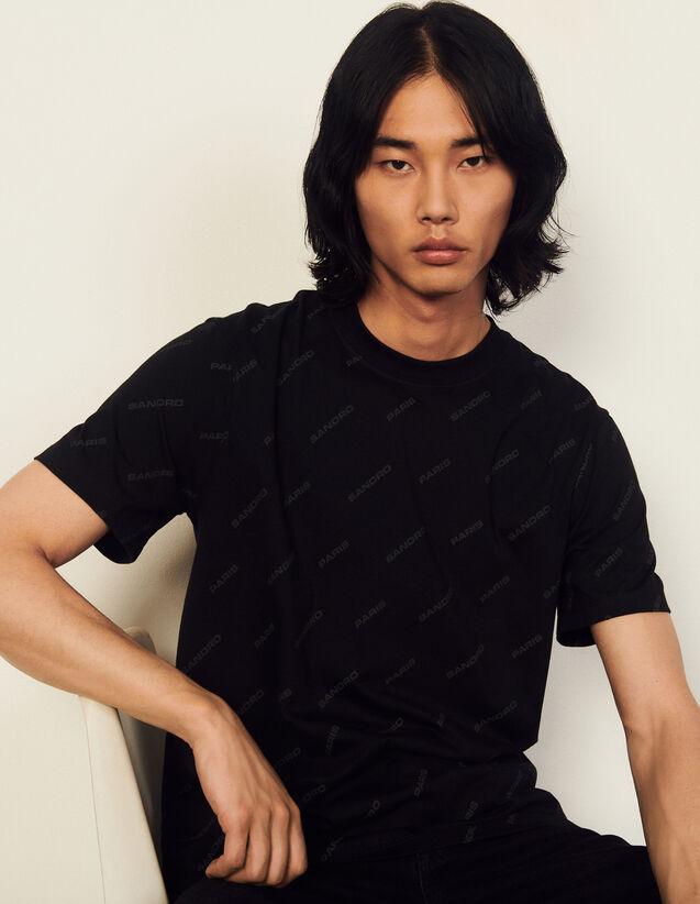 Cotton T-Shirt With Sandro Print : T-shirts & Polo shirts color Black