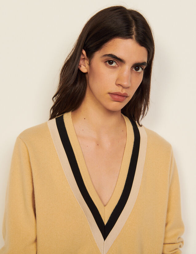 V-Neck Wool Sweater : Sweaters & Cardigans color Camel