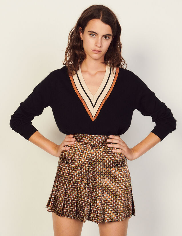 Shorts With Trompe L'Oeil Print : Skirts & Shorts color Brown / Black