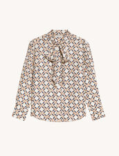 Printed Silk Twill Shirt : Shirts color Blanc / Marron