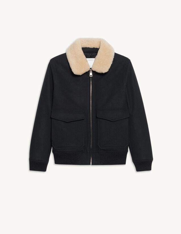 Aviator Jacket With Sheepskin Collar : Trench coats & Coats color Navy Blue