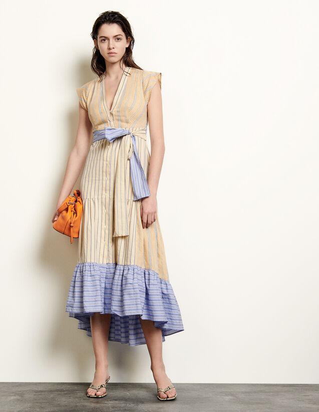 Long Asymmetric Dress With Stripes : Dresses color Beige / Blue