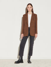 Houndstooth Check Tailored Jacket : Blazer & Jacket color Brown