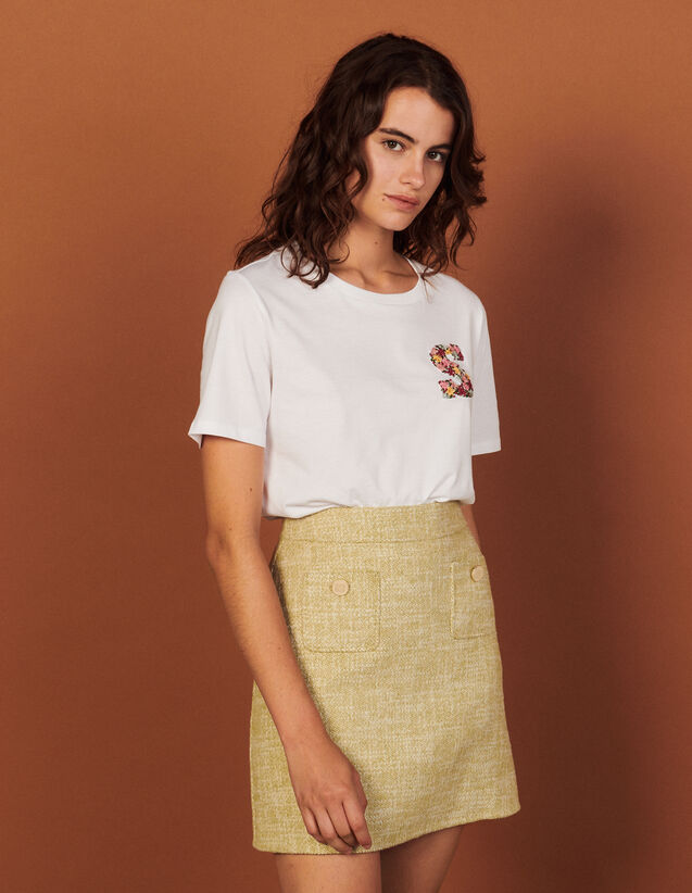 T-Shirt With Embroidery On The Chest : T-shirts color white