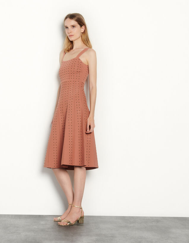 Knit Dress With Rhinestone Gems : Dresses color Terracotta