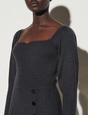 Knit Dress With Slit : Dresses color Charcoal Grey