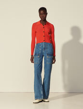 Cropped Cardigan With Shirt Collar : Sweaters & Cardigans color Red