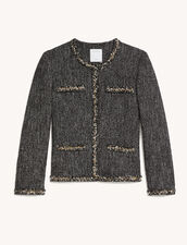 Short Tweed Jacket : Blazer & Jacket color Black / White