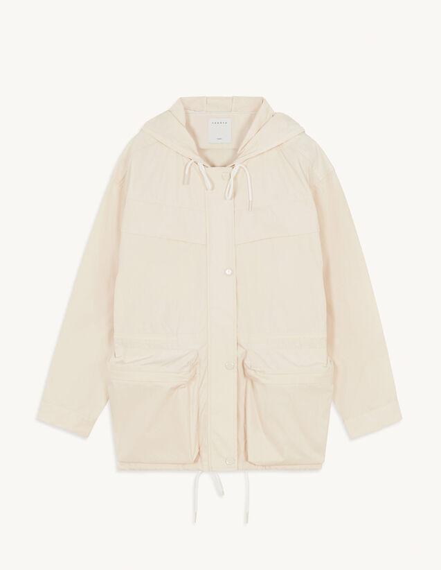Nylon Jacket With Hood : Blazer & Jacket color Beige