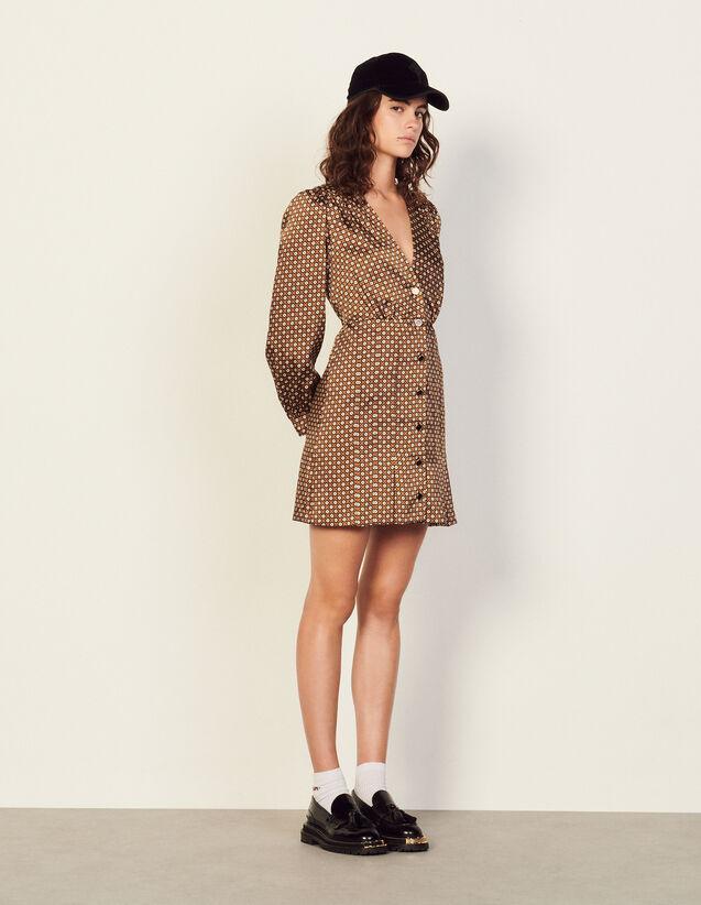 Short Printed Dress : Dresses color Brown / Black