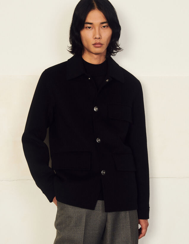 Double-Faced Wool Jacket : Trench coats & Coats color Bluish Grey