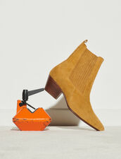 Leather Ankle Boots With Elastic : Boots color 琥珀色/AMBER