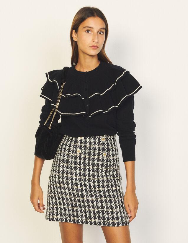 Short Skirt In Fancy Tweed : Skirts & Shorts color Marine / Blanc