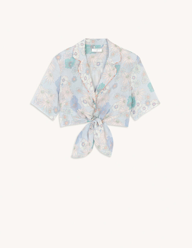 Tie-Front Printed Pyjama Shirt : View All color Blue