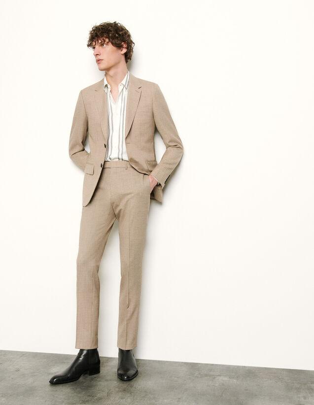 Micro Check Suit Trousers : Pants & Shorts color Beige