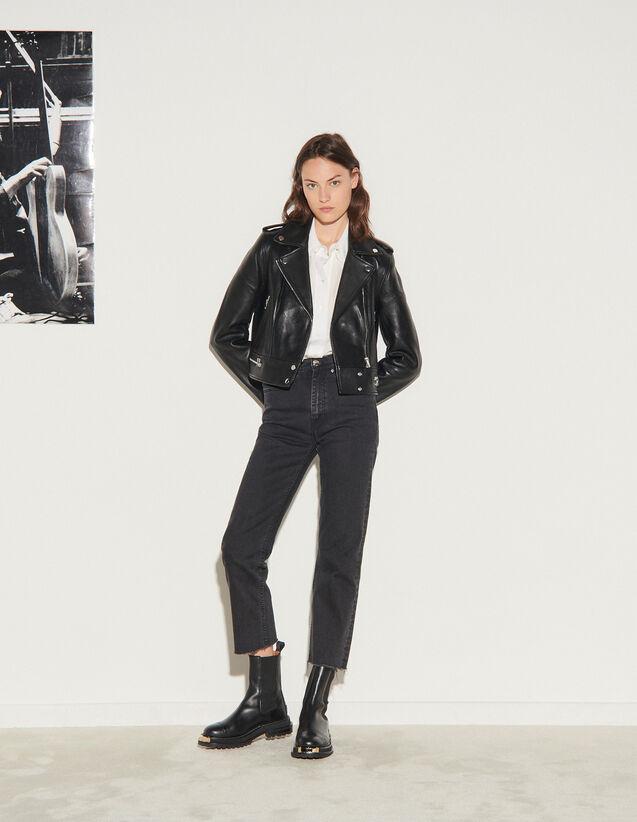 Leather Jacket : Blazer & Jacket color Black