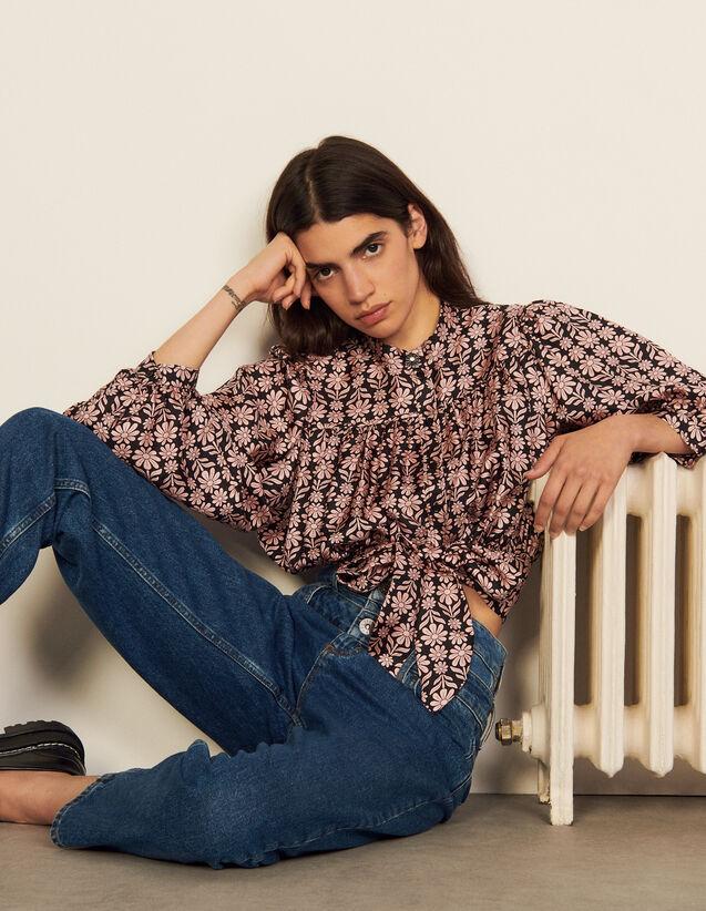 Printed Silk Shirt : Shirts color Black / Pink