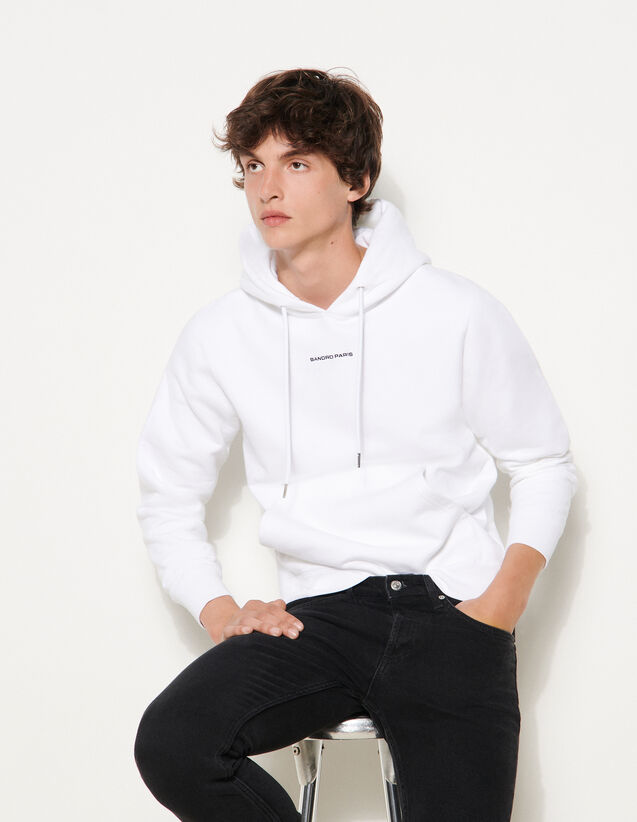 Hoodie Sweatshirt With Logo Embroidery : Sweatshirts color white