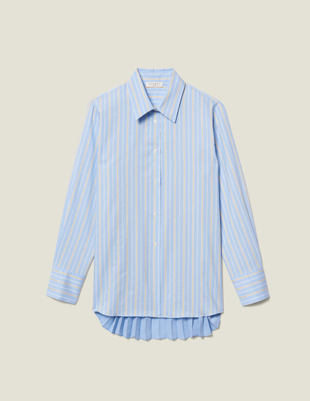 Asymmetric Shirt With Pleated Inset : Shirts color Blue sky