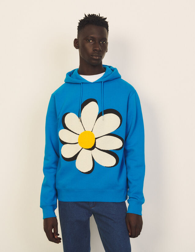 Hoodie With Flower Embroidered Patch : Sweatshirts color white