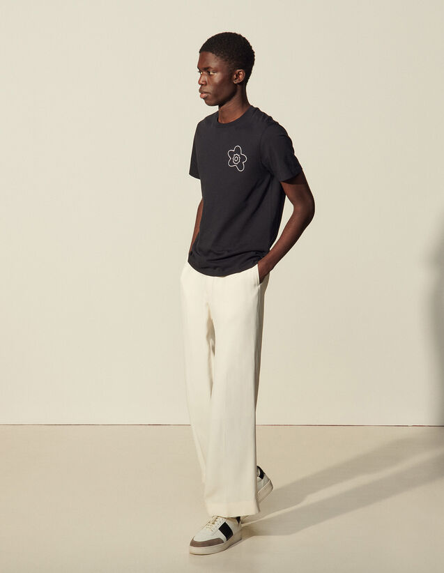 Cotton T-Shirt With Embroidery : T-shirts & Polo shirts color Ecru