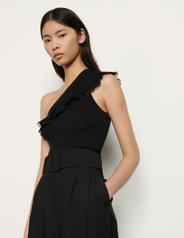 Asymmetric Knit Top : Tops color Black