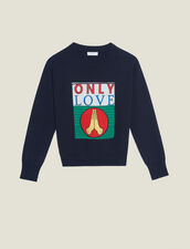 Sweater With Appliqué Patch : Sweaters & Cardigans color Navy Blue