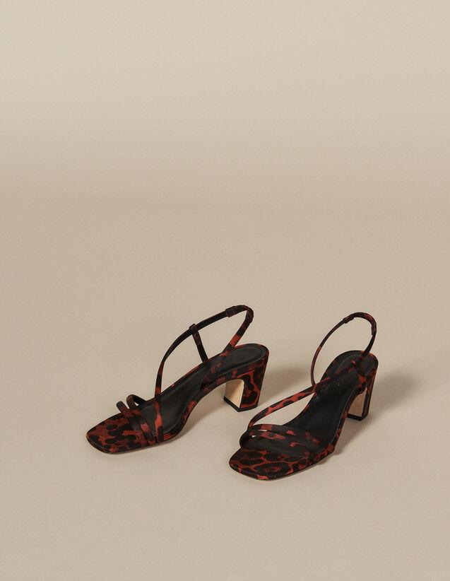 Leopard Print Fabric Sandal : Shoes color Orange leopard